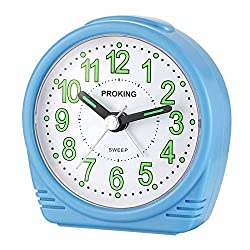 Alarm Clock,Silent No-Ticking Bedside Analog Alarm Clock,Small Lightweight Travel Quartz Alarm Clock,with Snooze and Light,Large Digital Dial Easy to Set,Battery Operated,Best for Elder/Kids (Blue)