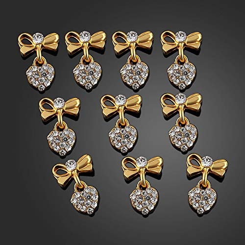 Multi Styles 3D Nail Art Decoration Pearl Alloy Rhinestones Nail Studs 10Pcs (Design - Crystal Heart Bow)