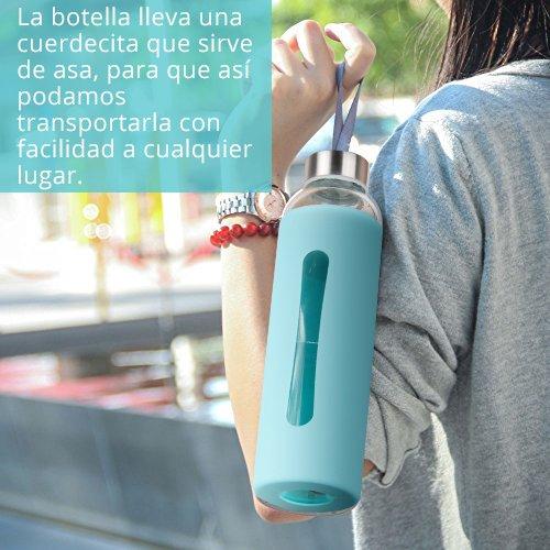 Botella Agua Cristal-Botella de Cristal 550 ml con Funda Silicona Botella de Agua Deportiva con Cepillo de Limpieza Sin BPA,Color Azul: Amazon.es: Deportes ...