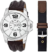 Laurels Zed Silver Dial Men's Watch with Free Strap- Lo-Zd-070907s