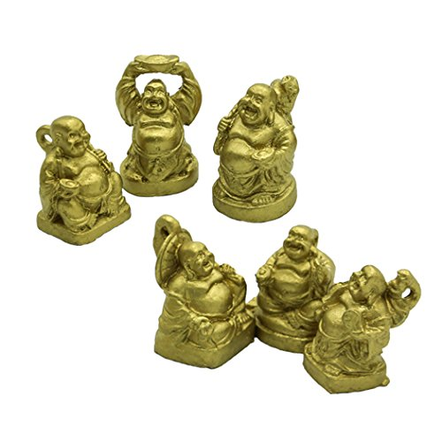 - 1'' Gold Laughing Buddha Figurines Collection Gift Set of 6 (mini gold)