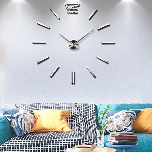 Frameless Large 3D DIY Wall Clock Mute Mirror Stickers Home Office School Decoration(2-Year Warranty) (Silver-001)