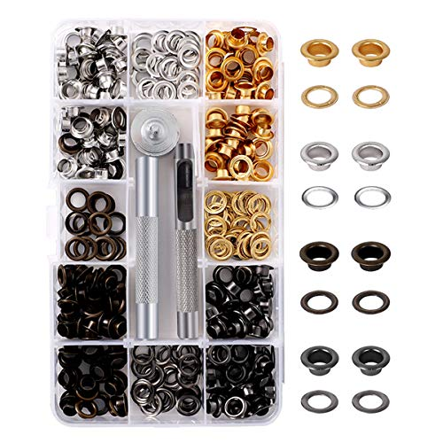 AIEVE Grommet Kit,200 Sets 4 Colors 1/4 inch Sewing Eyelets and Grommets and 3 Pieces Install Grommet Tool Kit with Case for Shoes Leather Clothes Repair Crafts,DIY Projects