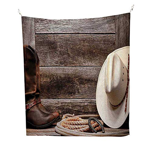 Western Decoroutdoor tapestryAmerican West Rodeo White Straw Cowboy Hat with Lariat Leather Boots on Rustic Barn Wood 70W x 84L inch Ceiling Tapestry