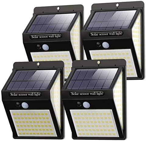 [4 Pack] 140LED Solar Security Lights Outdoor, Litogo Solar Motion Sensor Lights 270ºWide Angle Waterproof Solar Powered Durable Wall Lights Outside 3 Modes for Garden Fence Door Yard Garage Pathway