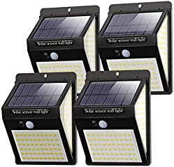 Litogo Luz Solar Exterior 140 LED【4 Pack / 3 Modos】con Sensor de Movimiento, Luces LED Solares Exteriores 270º...