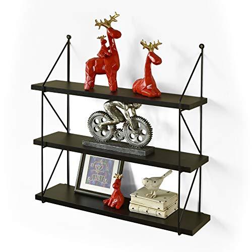 (WELLAND 3-Tier Display Wall Shelf Storage Rack Wall Rack Holder Rack, Espresso )