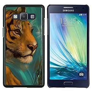 EJOOY---Cubierta de la caja de protección para la piel dura ** Samsung Galaxy A5 A5000 ** --Cara del tigre Dibujo Paintin la acuarela del gato
