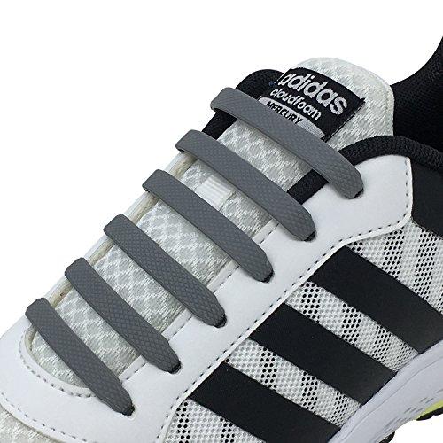 Newkeen No Tie Lacets pour les enfants et adultes - imperméables Silicon Flat élastiques Lacets de sport course de chaussures pour Shoes Sneaker Conseil Bottes et Souliers Grey TsKltlswm