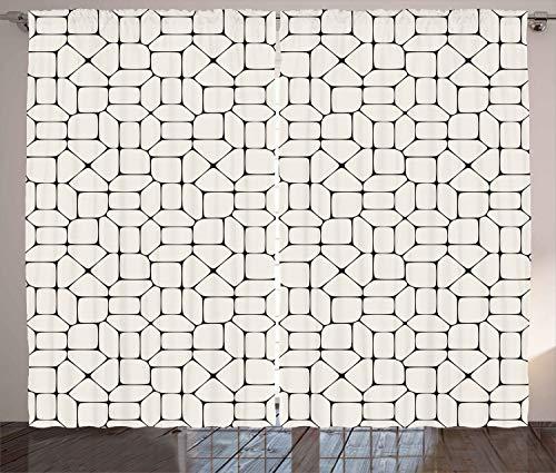 "Ambesonne Geometric Curtains, Black and White Mosaic Pavement Tile Bricks Modern Conceptual Tracery Design, Living Room Bedroom Window Drapes 2 Panel Set, 108"" X 108"", Beige Black"