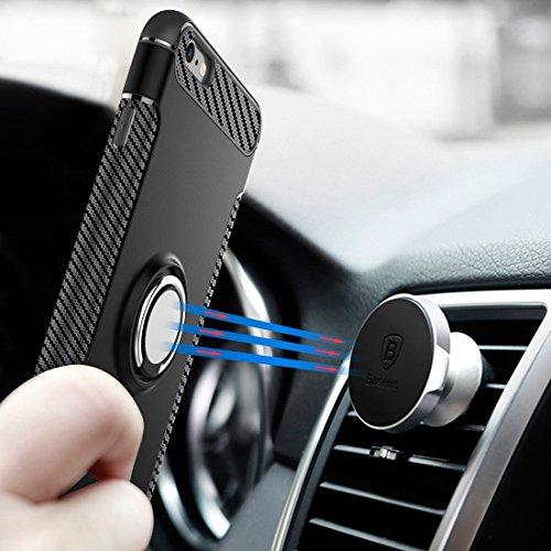 Protege tu iPhone, Para el iPhone 6 Plus y 6s Plus Magnetic 360 grados de rotación Ring Armor Protective Case Para el teléfono celular de Iphone. ( Color : Oro ) Azul
