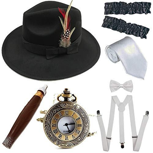 1920s Trilby Manhattan Fedora Hat, Plastic Cigar/Gangster Armbands/Vintage Pocket Watch,Black&White]()