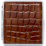 Brown Crocodile Print Leather (Kings) Nickle-Plated Metal Cigarette Herbal Cigarette Cigar Tobacco Carrying Stash Storage Case