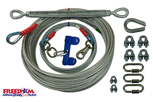 (Freedom Aerial Dog Runs Super Heavy Duty (Lead Line Length 15 FT, Aerial Cable 100 FT))