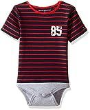 Tommy Hilfiger Baby Boys' Short Sleeve Striped Tommy Bodysuit, Grey Heather, 3 Months