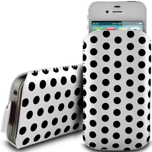 N4U Online - Apple Iphone 4S premium Polka Dot Design PU Pull en cuir flip Tab Housse Etui - Blanc