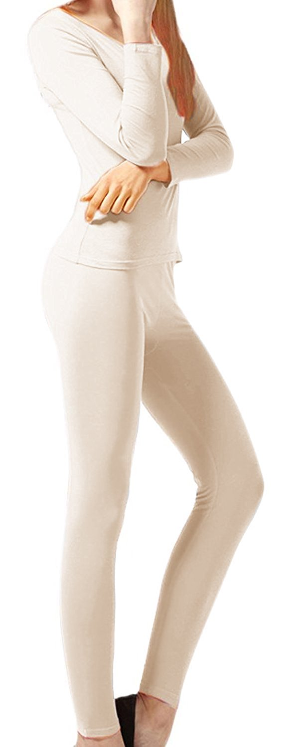 Peach Couture Womens Microfleece Ultimate Warmth Comfort Fit Thermal 2 Piece Set (Beige XL)