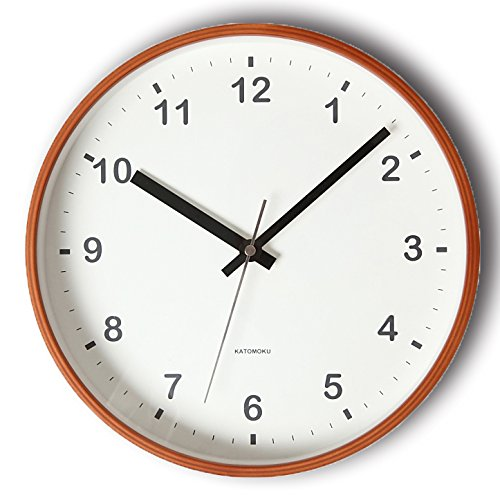 KATOMOKU plywood wall clock ライトブラウン スイープ(連続秒針) km-36M φ252mm B00YMKVF0I