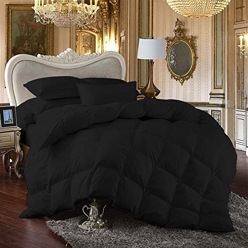 luxuriousdeals 800 Thread Count 100% Egyptian Cotton 300 GSM Goose Down Alternative 3 PC Comforter Set (1 PC Comforter and 2 Pillow Cases) King/California King Size Black Solid