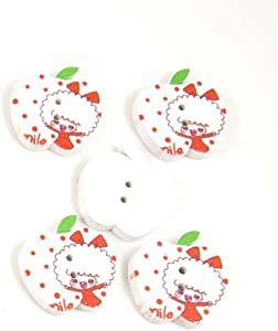 500 Pieces Sewing Sew On Buttons BT20226 Girl Apple Shape Wooden Wood Arts Crafts Notions Supplies Fasteners