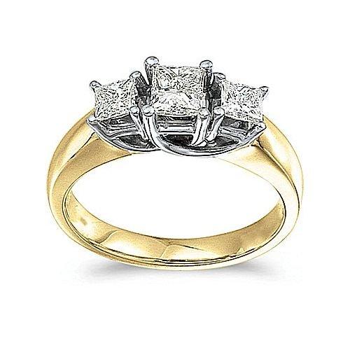 14kt Yellow Gold 3 Stone Princess Cut 1.00ct Diamond Trellis - Cut Ring Diamond Trellis