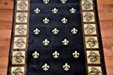 Black Fleur-De-Lys Carpet Runner Rug 31''W - Custom Lengths - Purchase By the Linear Foot
