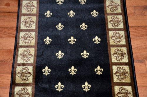 Black Fleur-De-Lys Carpet Runner Rug 31''W - Custom Lengths - Purchase By the Linear Foot by Dean Flooring Company