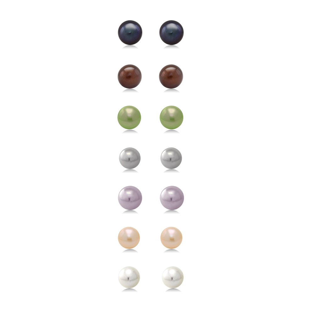 A Set Of 7 Pairs Of 7mm Cultured Freshwater Pearl Stud Earrings Set In Sterling Silver