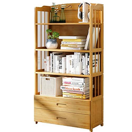 DULPLAY Drawers 3-6 Tier Bookshelf, Oak Finish Wood Multifunctional Floor-Standing Storage Organizer Murder Display Storage Furniture Shelf Bookcase-I 80x25x140cm(31x10x55) (Finish Stand Plant Oak)