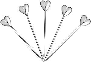 5 Pcs Stainless Steel Cocktail Picks Reusable Toothpicks Fruit Sticks(Heart)