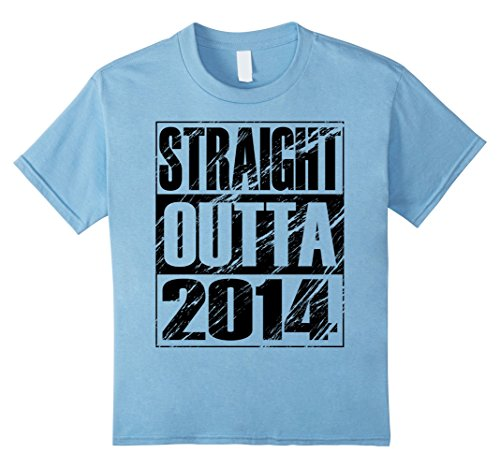 Kids Funny Straight Outta 2014 3rd Birthday T-shirt Vintage Gift 4 Baby Blue