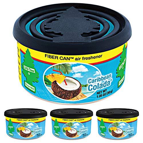 (LITTLE TREES Fiber Can auto air freshener, Caribbean Colada, 4)