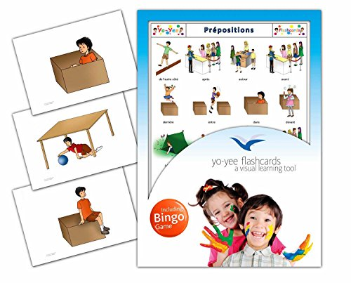 Prepositions Flashcards in French Language - Flash Cards with Matching Bingo Game for Toddlers, Kids, Children and Adults - Size 4.13 × 5.83 in - DIN A6 (French Bingo Game)