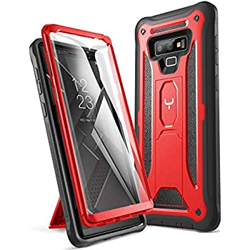 YOUMAKER Kickstand Case for Galaxy Note 9, Full Body with Built-in Screen Protector Heavy Duty Protection Shockproof Rugged Cover for Samsung Galaxy Note 9 (2018) 6.4 Inch - Red/Black