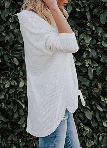 IWOLLENCE Womens Loose Henley Blouse Bat Wing Long Sleeve Button Down T Shirts Tie Front Knot Tops White S by IWOLLENCE (Image #3)