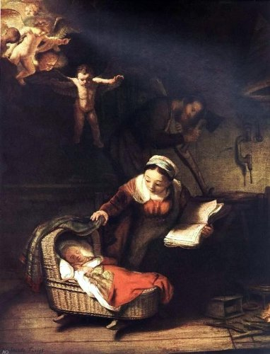Rembrandt Van Rijn The Holy Family with Angels - 24'' x 32'' 100% Hand Painted Oil Painting Reproduction by Art Oyster