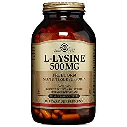 Solgar L-Lysine Vegetable Capsules, 500 mg, 250 Count