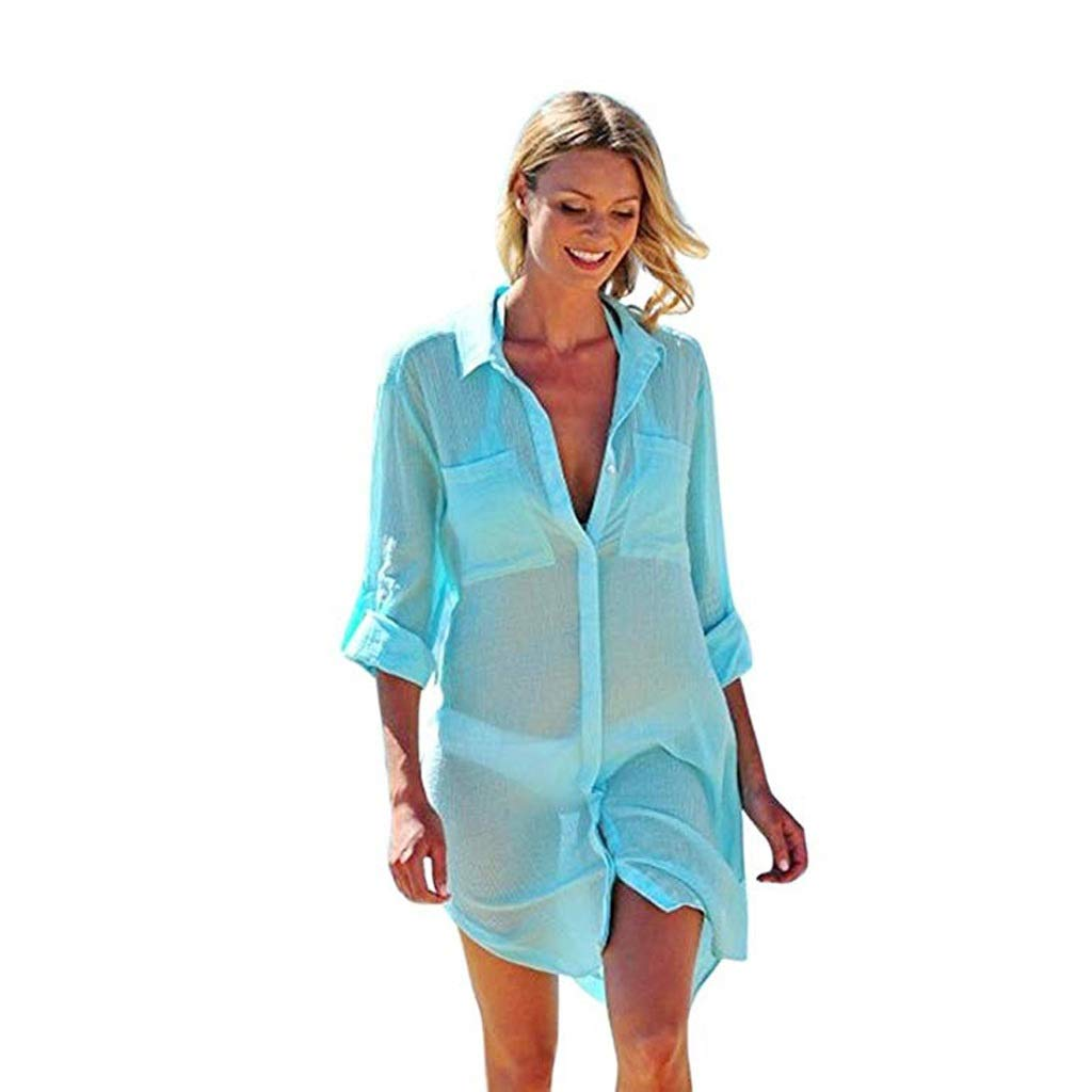 Green RANRANJJ Fashion Women Long Sleeve Mesh Bikini Cover up, Beach Sunscreen Pocket Shirts Hem Kaftan Swimsuit Beachwear Bikini Cover Up (color   Green, Size   XL)