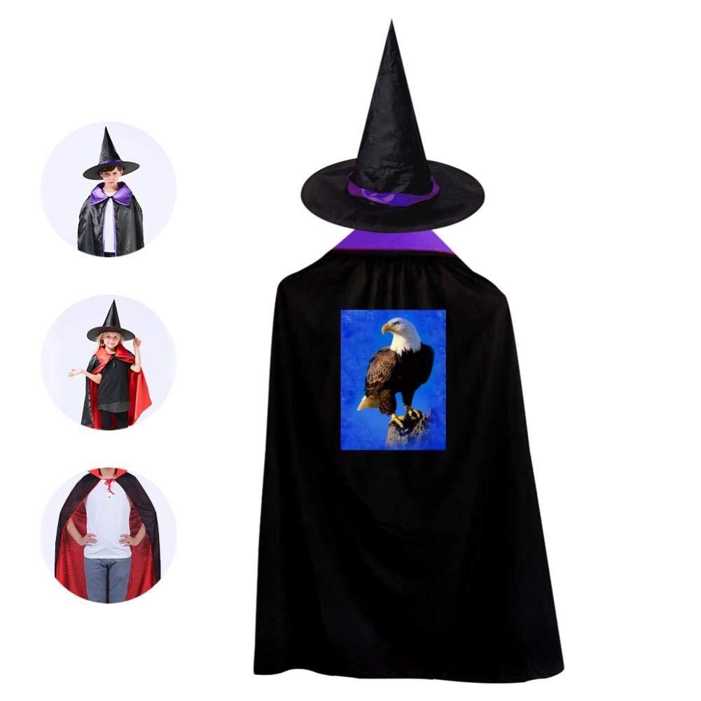 Children'S Halloween Cloak Witch Hat Suit Unisex Print Sea Eagle Purple