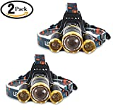 2 Pack Brightest LED Headlamp 6000 Lumen flashlight - IMPROVED LED, Rechargeable 18650 headlight flashlights, Waterproof Hard Hat Light, Lumen Bright Head Lights, Running or Camping headlamps -  UVER
