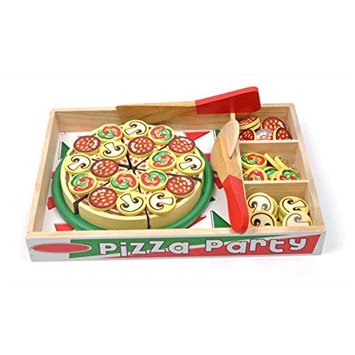 NeatoTek Pretend Play Wooden Pizza Toy for Kids Pizza Play Food Set for Children Pizza Party Food Cooking and Cutting Wooden Play Food Set Toy with 54 Toppings (Play Set Party Pizza)