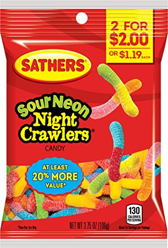 Sathers Sour Neon Night Crawlers Gummy Worms Candy, Assorted Fruit, 3.75 Ounce (Pack of ()