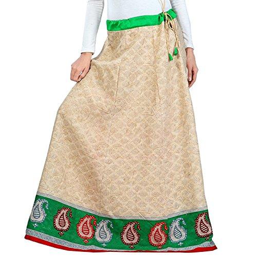 Indian Handicrfats Export Admyrin Women Beige Blended Cotton Skirt
