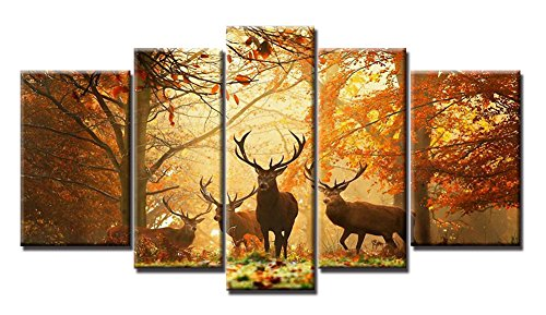 Yiijeah Canvas Painting Modern Wall Art,5 Panels Forest and Deer Landscape Picture Print on Canvas,Contemporary Stretched and Framed Artwork Ready to Hang for Living Room Bedroom Wall Decor by Yiijeah