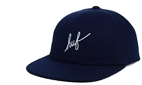 Image Unavailable. Image not available for. Color  HUF Wool Script 6 Panel  Premium Strapback Adjustable Navy Hat Cap 51d703ecf1d7