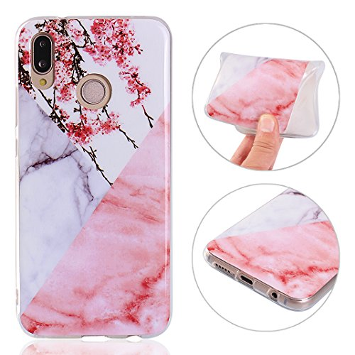Rosa Marble - Huawei P20 Lite Case Painted Plum Blossom Marble, Rosa Schleife Gel TPU Silicone Phone Cases Soft Ultra Thin Shockproof Back Cover Protective Skin Shell Lightweight for Huawei P20 Lite - Color 7