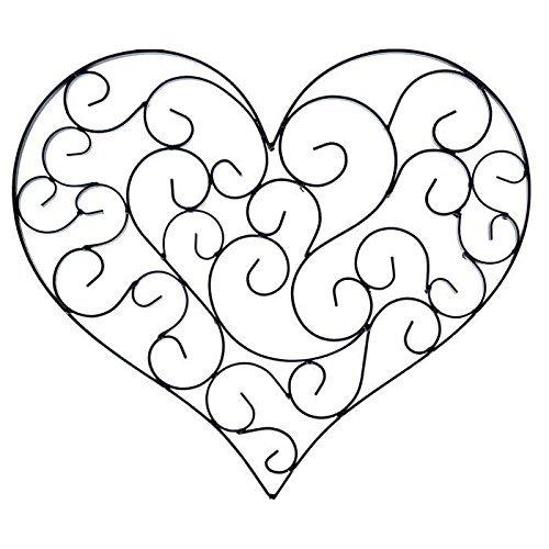 Heart Scroll (Black Swirly Heart Metal Wall Decor)
