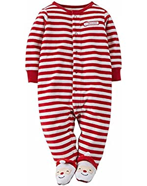 Carters Infant Boys Striped Fleece Santa's Helper Sleep & Play Pajama Sleeper
