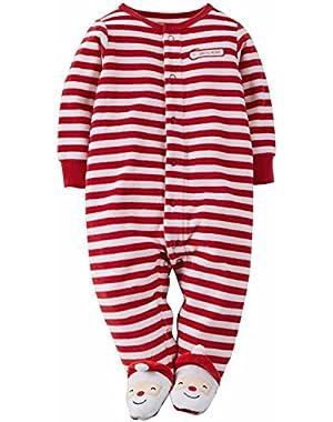 Carters Infant Boys Striped Fleece Santa's Helper Sleep & Play Pajama Sleeper