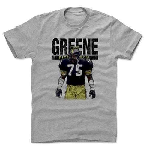 500 LEVEL Mean Joe Greene Cotton Shirt (X-Large, Heather Gray) - Pittsburgh Steelers Men's Apparel - Joe Greene Sketch K